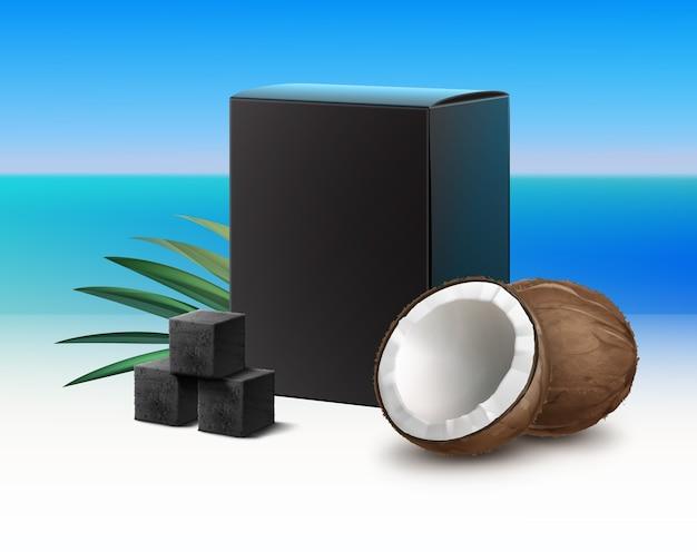 배경 흐림에 고립 된 코코넛 껍질 냄새와 물 담뱃대 파이프에 대 한 숯 큐브의 벡터 블랙 빈 판지 상자