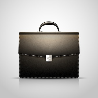 Vector black brief case with leather