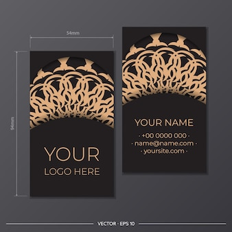 Vector black color business card design with greek patterns. stylish business cards with luxurious ornaments.