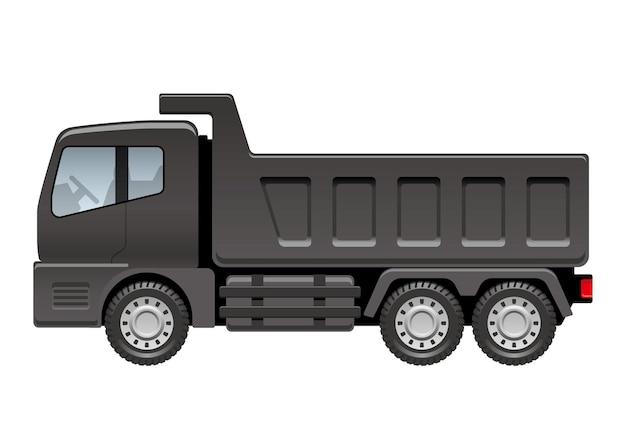 白い背景で隔離のベクトルの黒いダンプトラックの図