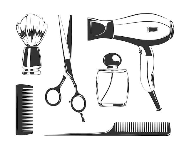 Векторные черные элементы для ярлыков парикмахерских