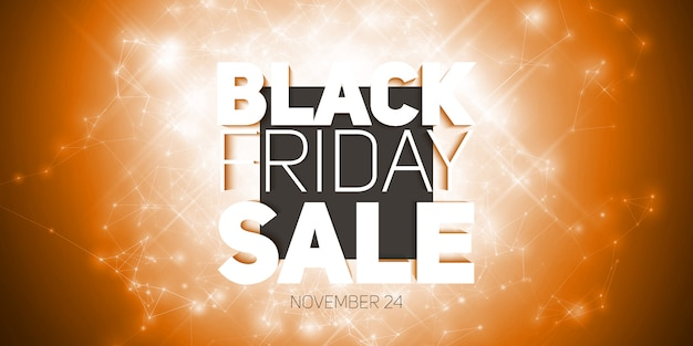 Vector black friday sale sfondo con splendente esplosione di fuochi d'artificio.