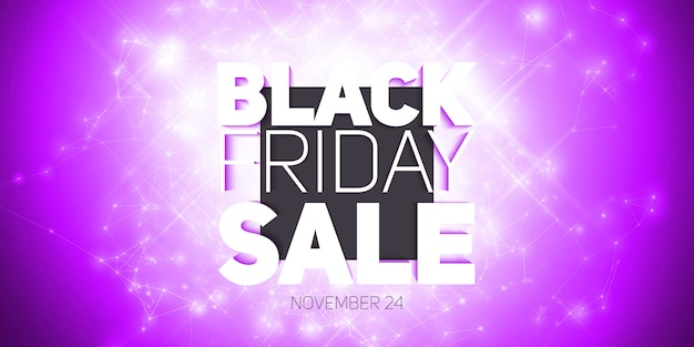 Vector black friday sale background with shining blast of fireworks.
