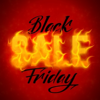 Vector black friday sale text with orange fire flames background