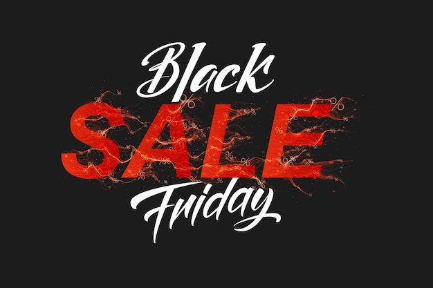 Vector black friday sale text with red fire flames background
