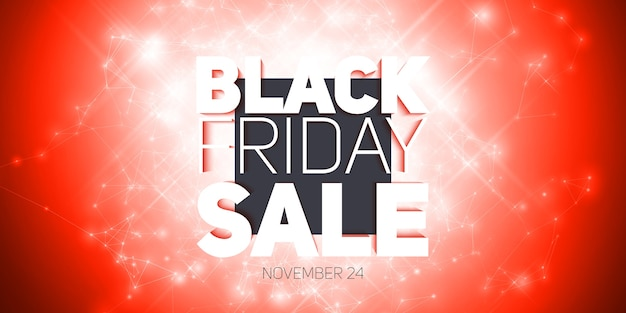 Vector black friday sale with shining blast of fireworks. abstract explosion of shining dots.