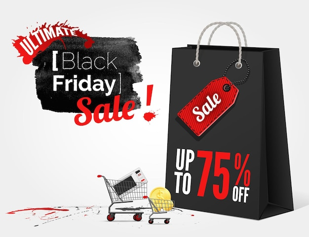 Vector black friday watercolor banner with splashes of ink and shoppping bag and a cart