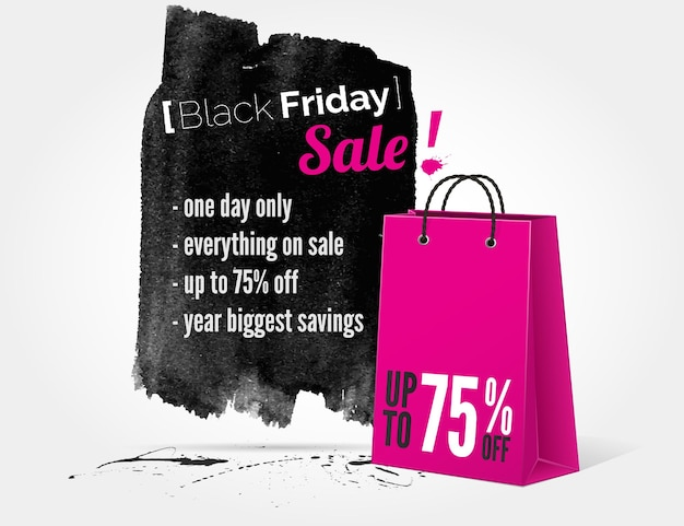 Vector black friday watercolor banner with splashes of ink and shoppping bag