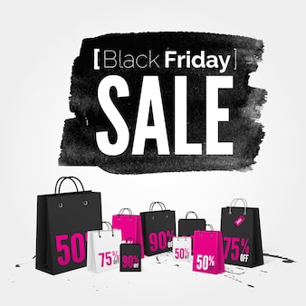 Vector black friday watercolor banner with splashes of ink and shoppping bags