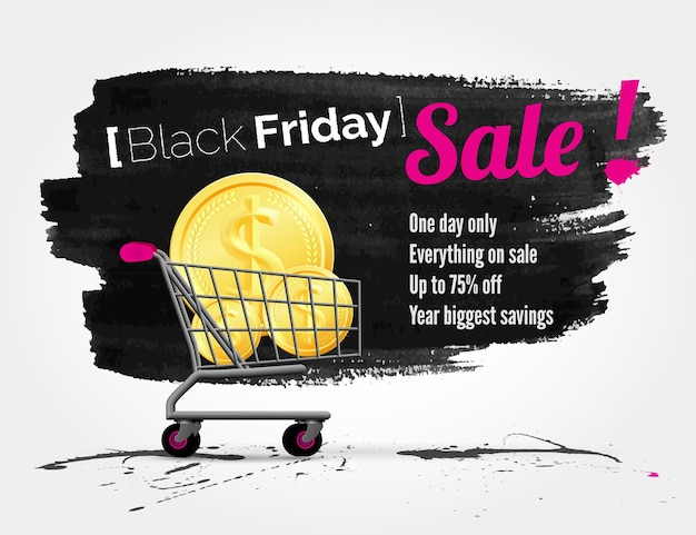 Vector black friday watercolor banner with splashes of ink and shoppping cart