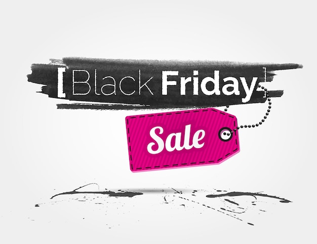 Vector black friday watercolor banner with splashes of ink and shoppping tag