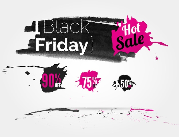 Vector black friday watercolor banner with splashes of ink