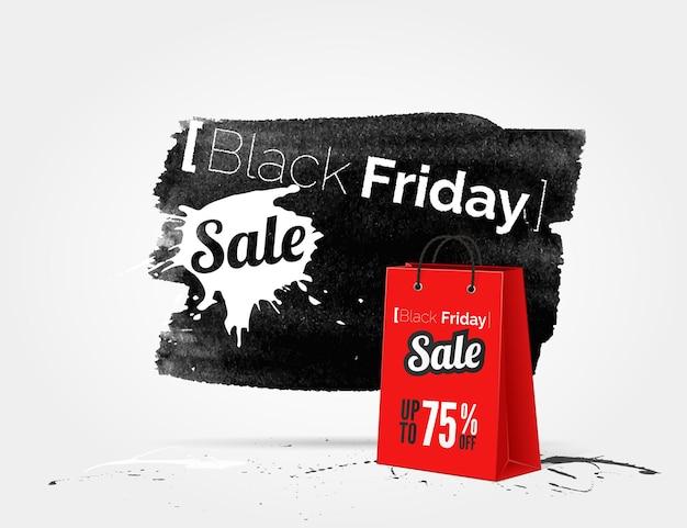 잉크와 쇼핑백의 밝아진 벡터 블랙 프라이데이 수채화 배너