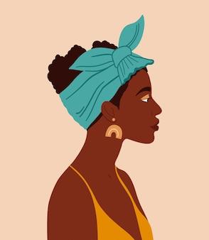 벡터 흑인 소녀입니다. 젊은 아프리카 여자의 초상화입니다. 양성평등의 개념