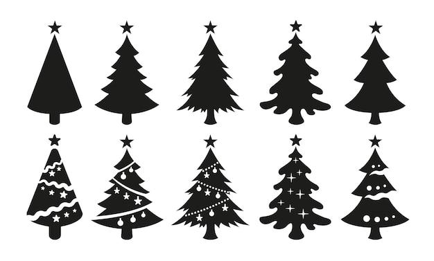 Векторные черные иконки рождественских елок, изолированные на белом фоне. черные силуэты новогодних елок со звездами наверху.
