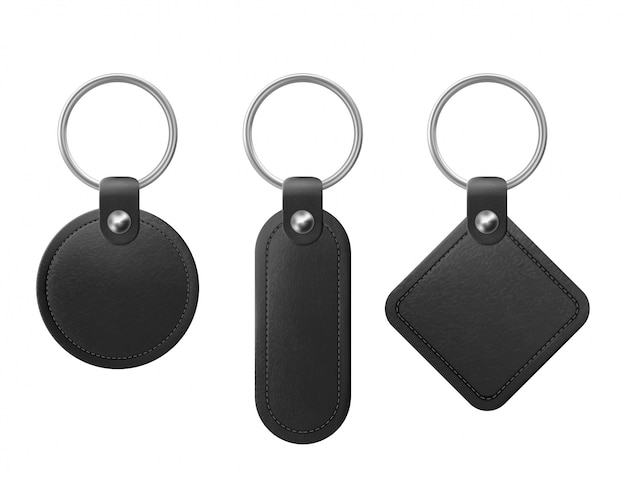 Vector black leather keychain with metal ring