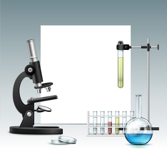 Vector black metal optical microscope with transparent glass petri dish, flask, test tubes with green red liquid, laboratory stand and copyspace isolated on background