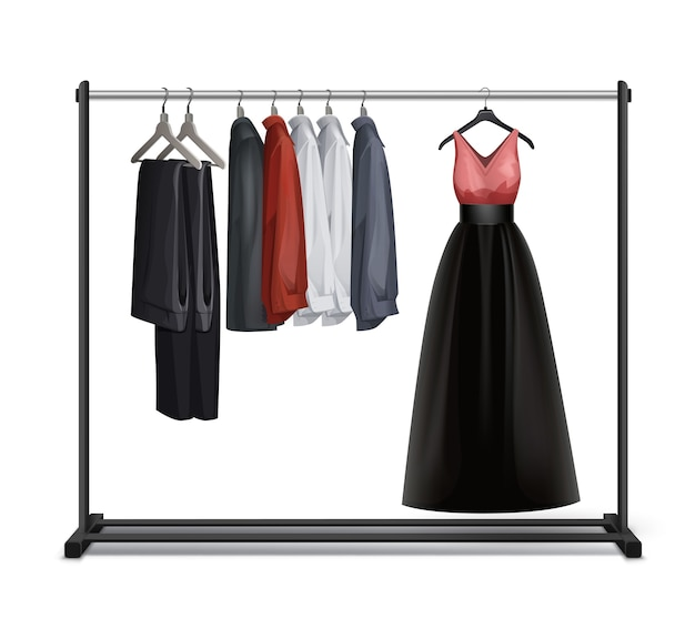 Vector black metal, wood clothes rack with dress, trousers, pants and shirts front view isolated on white background