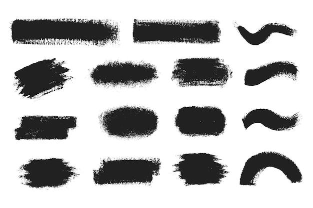 黒のペイント、インクブラシのストローク、ブラシ、線、またはテクスチャをベクトルします。テキストの汚れた芸術的なデザイン要素、ボックス、フレームまたは背景。