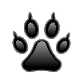 Vector black paw print isolated on white