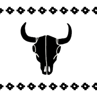 Vector black skulls buffalo, bull or cow on a white background. hand-drawn graphics. wild west sign symbol. vintage emblem cow skull with horns.