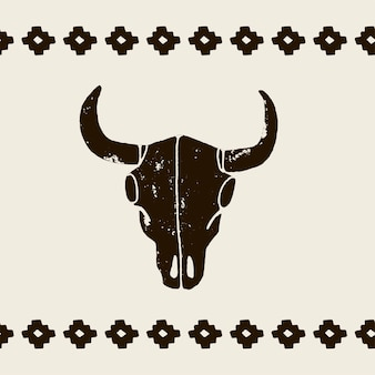 白い背景の上の黒い頭蓋骨の水牛、雄牛または牛をベクトルします。グランジ擦り傷のスタイルで手描きのグラフィック。ワイルドウェストサインシンボル。角のあるヴィンテージエンブレム牛の頭蓋骨。