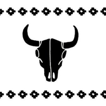 白い背景の上の黒い頭蓋骨の水牛、雄牛または牛をベクトルします。手描きのグラフィック。ワイルドウェストサインシンボル。角のあるヴィンテージエンブレム牛の頭蓋骨。