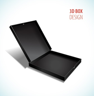 Vector black thin box with open lid
