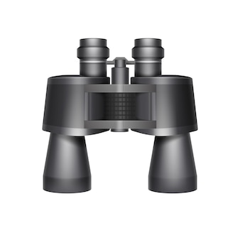 Vector black travel binoculars top view isolated on white background