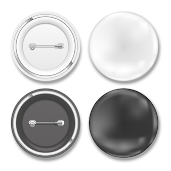 Vector black and white badges