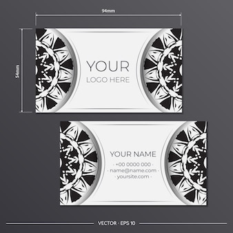 Vector black-white business cards preparation with abstract ornament. template for print design business card with monogram patterns.