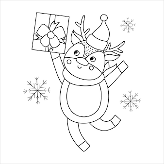 Vector black and white deer in hat and scarf with gift box and snowflakes. cute winter animal line illustration with present in hands. funny christmas card design. new year print template