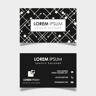 Vector black and white geometric pattern business card