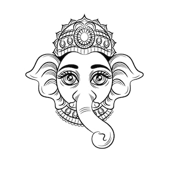 Vector black white illustration. the indian god with an elephant head. indian deity ganesh.