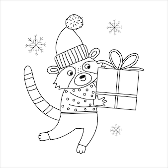 Vector black and white raccoon in hat and scarf with gift box and snowflakes. cute winter animal line illustration with present in hands. funny christmas card design. new year print template