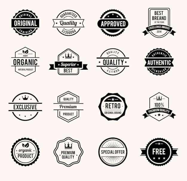 Vector black and white retro stamps and badges isolated