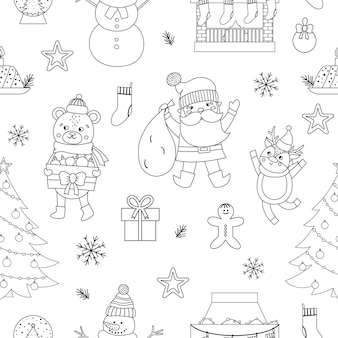 Vector black and white seamless pattern with christmas elements, santa claus in red hat with sack, deer, fir tree, presents. cute funny line new year repeating background.