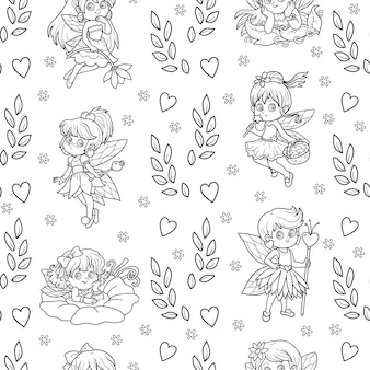 Vector black and white seamless pattern with little fairies on white background