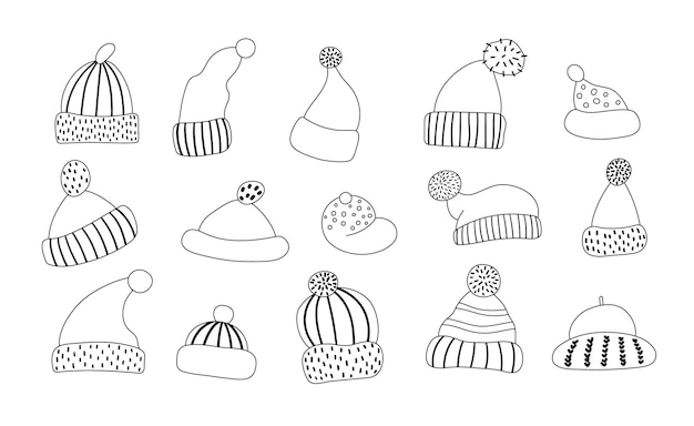 Vector black and white set of cute hats. funny line collection of warm head clothes. autumn or winter accessory icons pack.