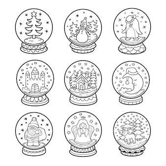 Vector black and white set of snowballs, colorless christmas collection