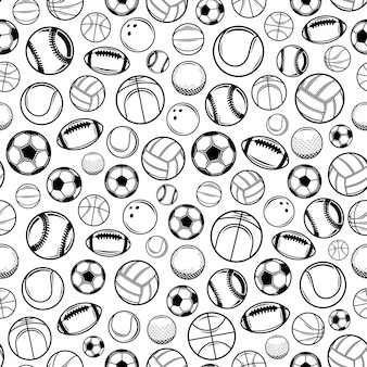 Vector black and white sport balls seamless pattern or background