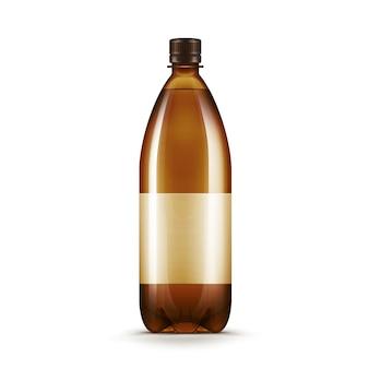 Вектор пустой коричневый пластиковая бутылка пива пиво квас, изолированные на белом