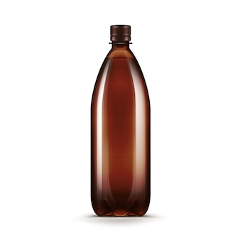 Vector blank brown plastic water beer kvass bottle isolated on white background