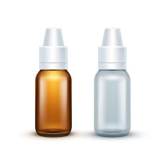 Вектор пустой стеклянный медицинский спрей бутылку изолированы