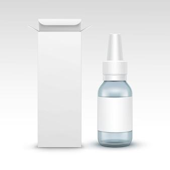 Коробка пакета упаковки бутылки медицины вектора пустая медицинская стеклянная