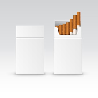 Vector blank pack package box of cigarettes isolated on white