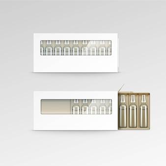 Вектор пустой упаковочной коробки для ампул, изолированных на белом