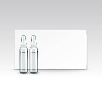 白で隔離されるアンプルのベクター空白の包装箱