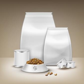 Вектор пустая упаковка, консервы и миска с кормом, изолированные на коричневом фоне