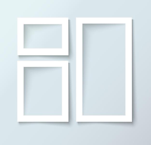 画像とテキスト、現実的なベクトルのための空のスペースで空白のフォトフレームをベクトルします。